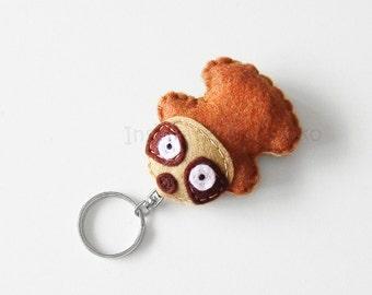 Sloth keychain plush, felt sloth stuffed animal, animal mini plush, bags accessory keyring, cute animal charm, animal lovers gift idea