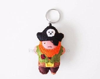 Pirate felt keychain, cute buccaneer mini plush, hanging accessory, fantasy character plush charm, bags accessory, summertime cute gift idea