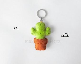 Felt cactus keychain, stuffed succulent plush keyring, women gift idea, cute cactus accessory, botanical gift