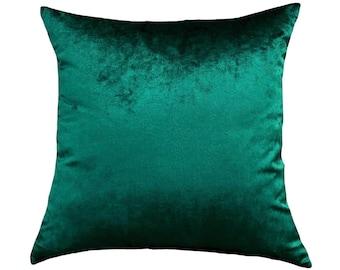 Velvet Emerald Green Throw Pillow Cover, Velvet Green Home Decor, Pillow Case, Euro, Sham, Lumbar Cover, Solid Emerald Green Home Accent