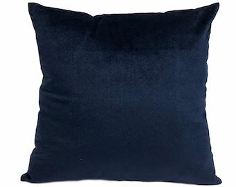 Velvet Navy Throw Pillow Cover, Velvet Navy Home Decor, Pillow Case, Euro, Sham, Lumbar Cover, Solid Navy Home Accent