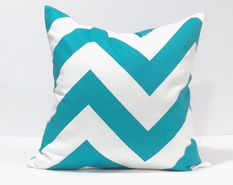 Zippy True Turquoise and White Large ZigZag Chevron Home Decor Throw Pillow Cover PillowCase, Toss pillow,  Many sizes avail
