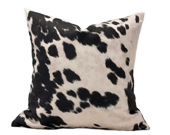 af9899911b7 Faux CowHide Black and Off white Throw Pillow Cover