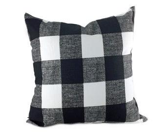 Plaid/Buffalo Check Large Anderson Black and White Home Decor Throw Pillow Cover Pillow Case, Sham, Euro cover, Lumbar, Kidney PillowCase