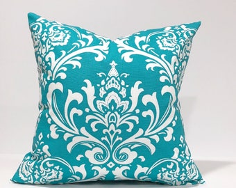 Damask, Ozborne True Turquoise and White Home Decor Throw Pillowcase, Pillow Cover, Home Accent
