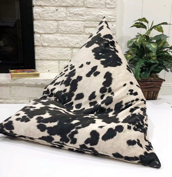 Peachy Faux Cowhide Black And Off White Bean Bag Chair Cover And Liner Only Velvety Floor Lounger Animal Print Pouf Does Not Include Bean Filler Evergreenethics Interior Chair Design Evergreenethicsorg