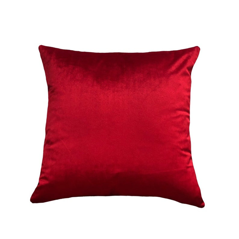 Velvet Red Home Decor Euro Sham Velvet Red Throw Pillow Cover Red Pillow Case Solid Red Home Accent Lumbar Cover