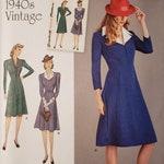 DESTASH Simplicity sewing pattern 8050 Sz H5 6-14 ~ 1940s Vintage Misses' dress: button-front ~ Agent Peggy Carter/Captain America ~ NIP New