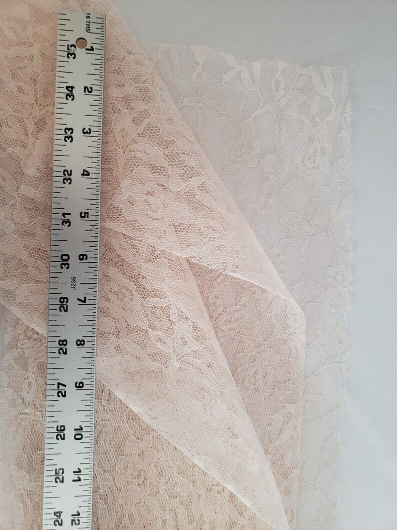 DESTASH 55 wide  120 length ~ peach floral length overlay special occasion fabric
