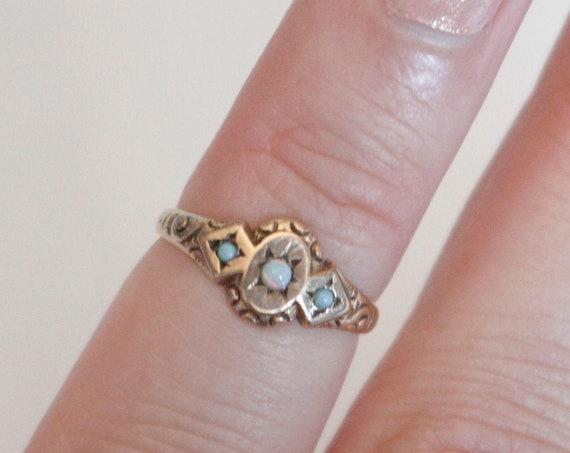 Opal Turquoise Celestial Ring | 10k Rose Gold