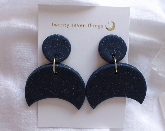 Galaxy Earrings: Night Sky - Crescent