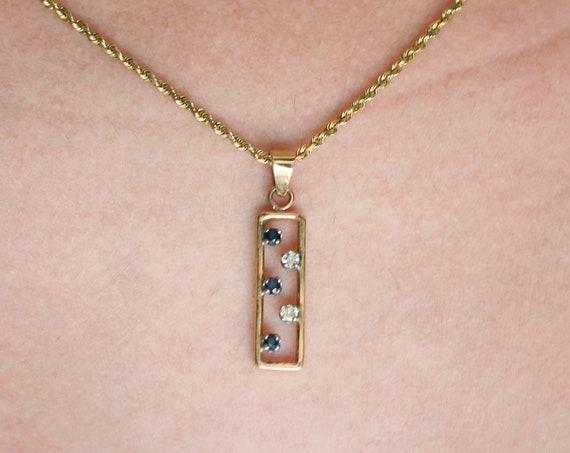 Sapphire and Diamond Celestial Floating Pendant | 14k Yellow Gold