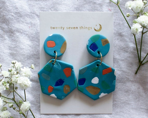 Terrazzo Earrings: Teal - Hexagon