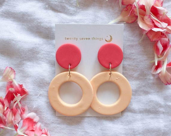 Colorblock Earrings: Coral/Peach- New Moon