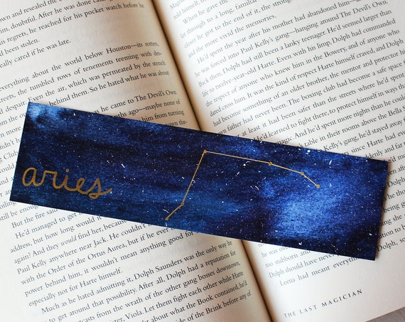 Aries Zodiac Constellation Galaxy Bookmark
