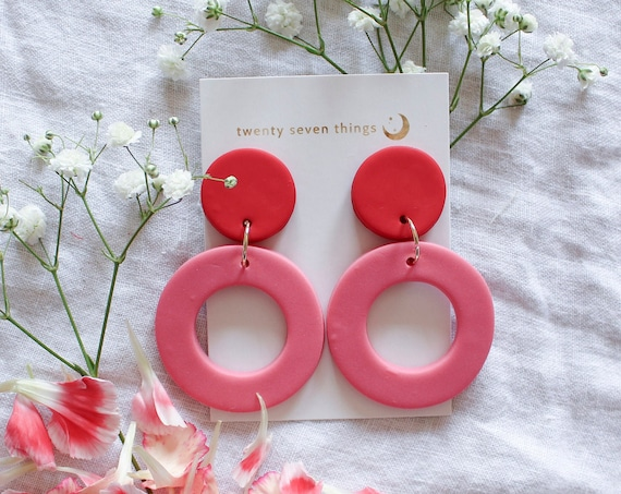 Colorblock Earrings: Red/Guava - New Moon