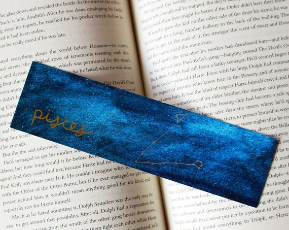 Pisces Zodiac Constellation Galaxy Bookmark