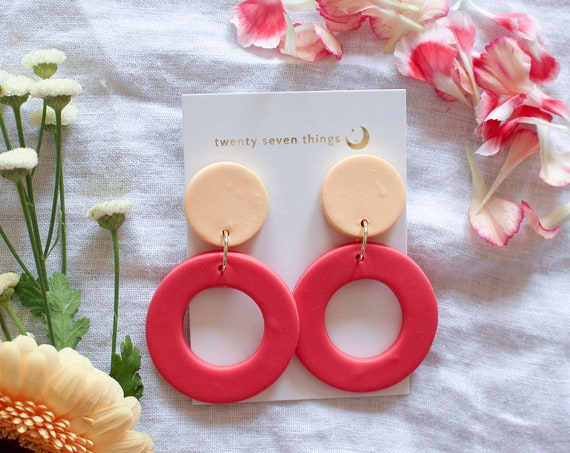 Colorblock Earrings: Peach/Coral - New Moon