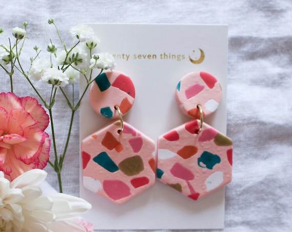 Terrazzo Earrings: Pink - Hexagon