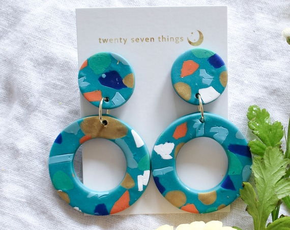 Terrazzo Earrings: Teal - New Moon