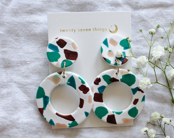 Terrazzo Earrings: White - New Moon