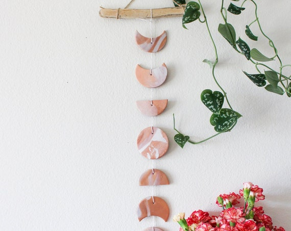 Copper and Rose Gold Moon Phase Wall Hanging