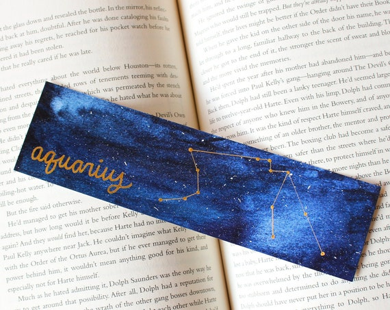 Aquarius Zodiac Constellation Galaxy Bookmark