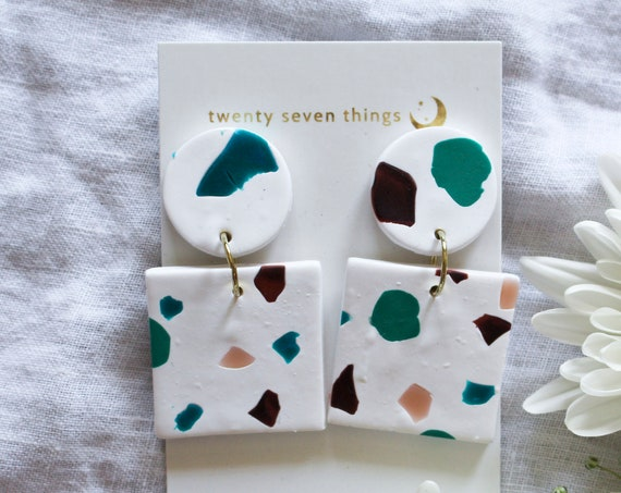 Terrazzo Earrings: White - Square - SLIGHT IMPERFECT