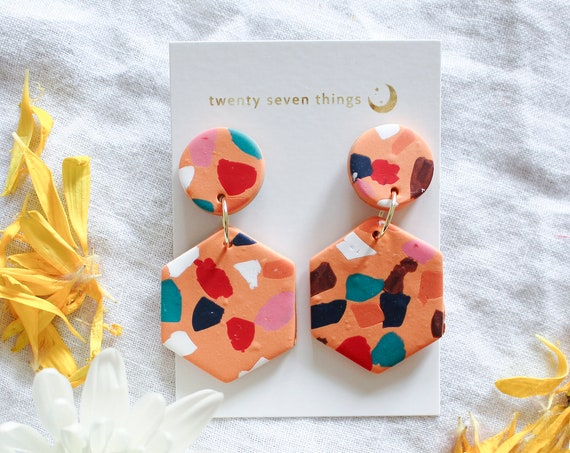 Terrazzo Earrings: Orange - Hexagon