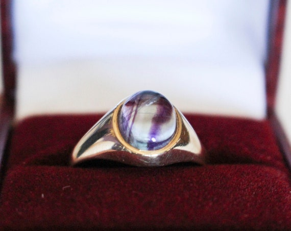 Purple Fluorite Ring | 9k Yellow Gold Ring
