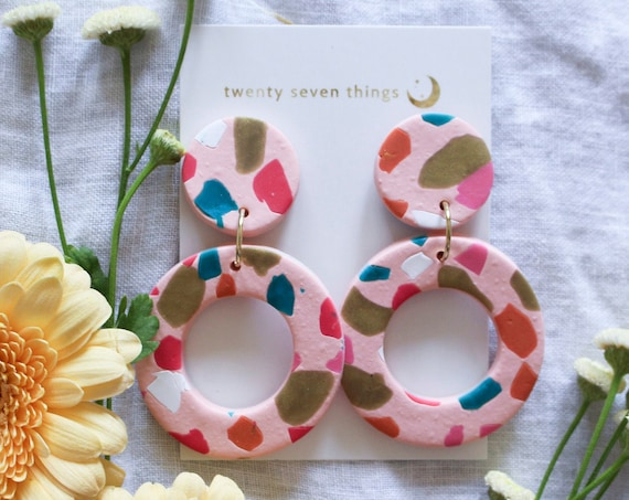 Terrazzo Earrings: Pink - New Moon
