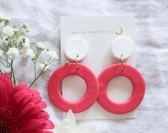 Colorblock Earrings: White/Rasberry- New Moon - SLIGHT IMPERFECT
