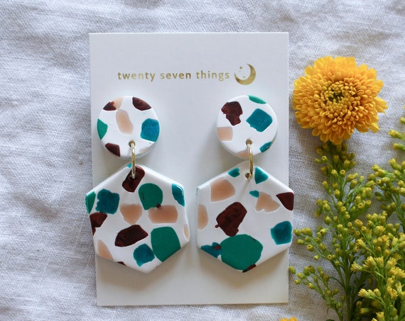 Terrazzo Earrings: White - Hexagon