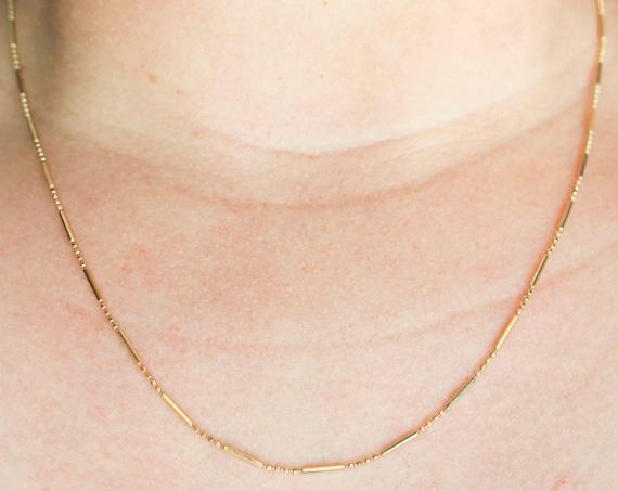 Bead & Bar Chain | 14k Yellow Gold Chain