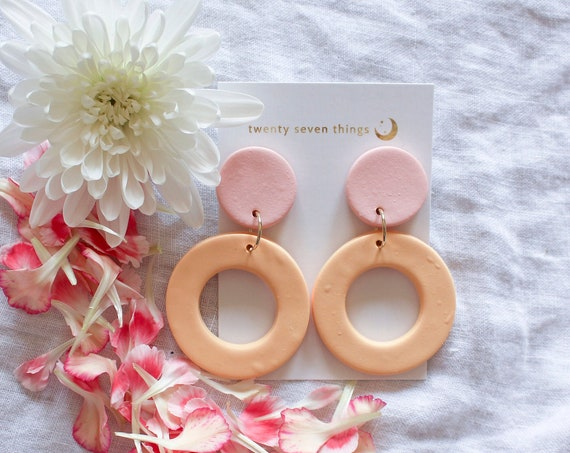 Colorblock Earrings: Pink/Peach - New Moon