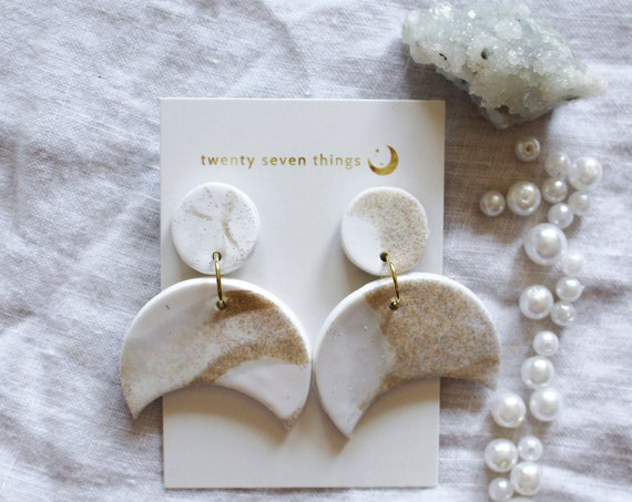 Galaxy Earrings: White/Gold Glitter - Crescent