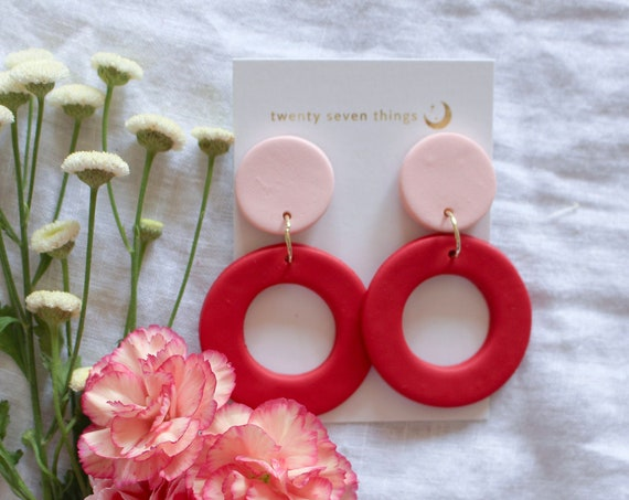 Colorblock Earrings: Pink/Red - New Moon