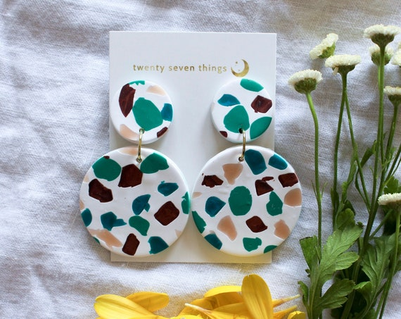 Terrazzo Earrings: White - Full Moon