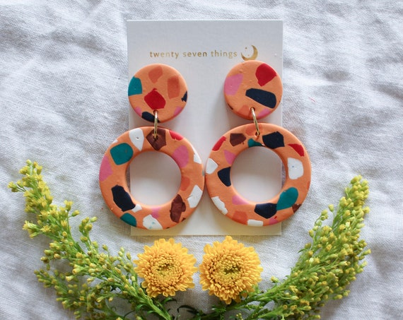 Terrazzo Earrings: Orange - New Moon