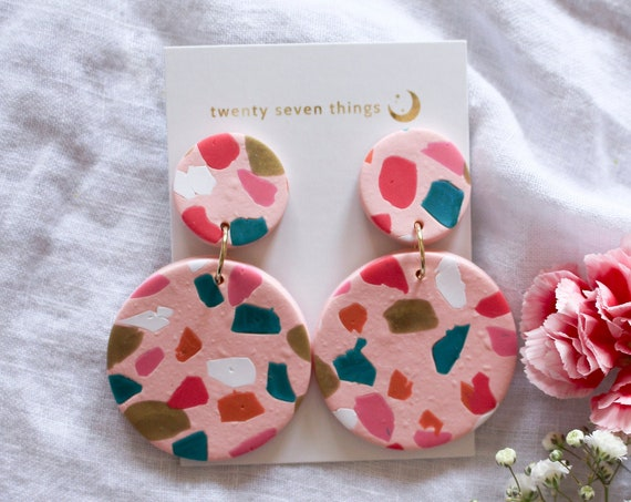 Terrazzo Earrings: Pink - Full Moon