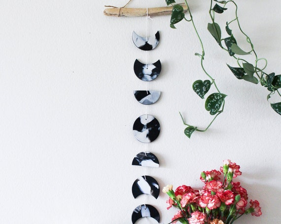 Black & White Moon Phase Wall Hanging