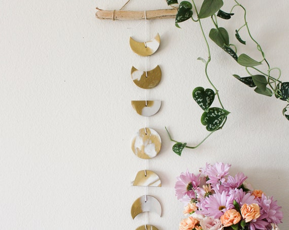 Gold Moon Phase Wall Hanging