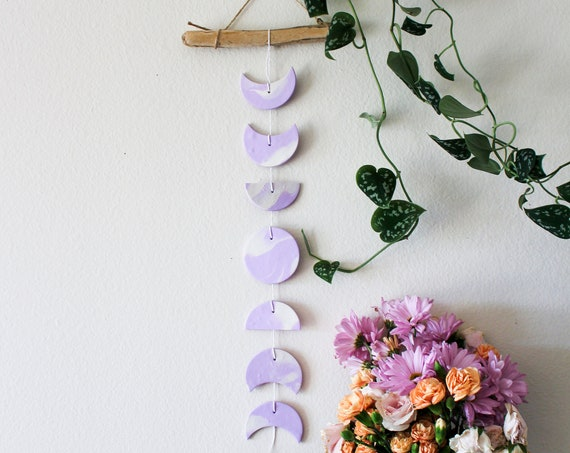 Lavender Moon Phase Wall Hanging