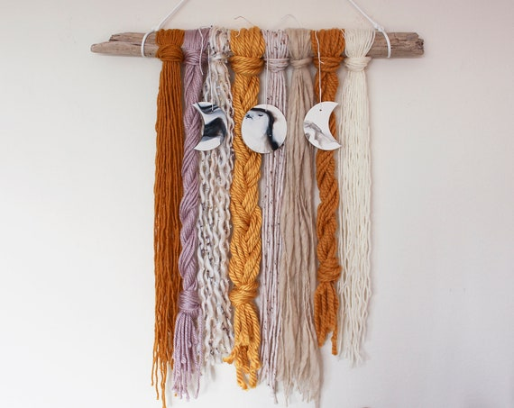 Moon Phase Yarn Wall Hanging - Artemis