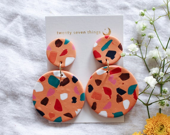 Terrazzo Earrings: Orange - Full Moon