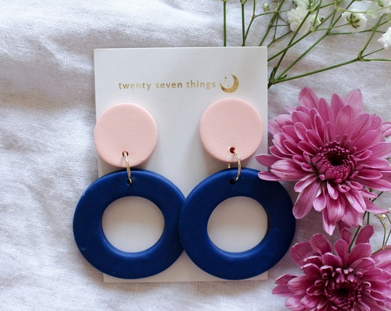 Colorblock Earrings: Pink/Cobalt - New Moon