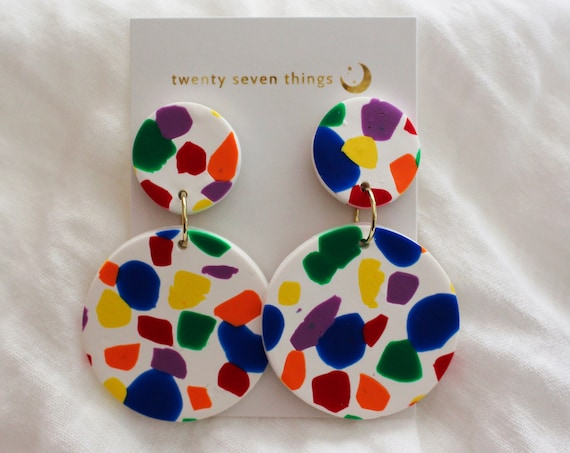 LIMITED EDITION: Pride 2019 Rainbow Terrazzo Earrings - Full Moon