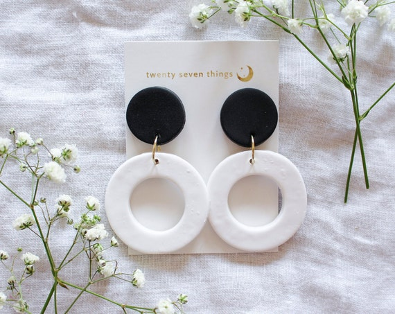 Colorblock Earrings: Black/White - New Moon