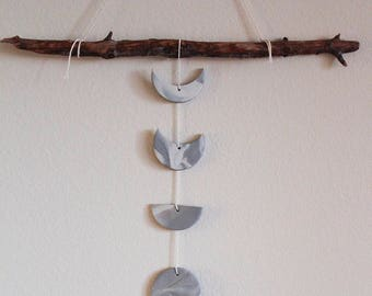 Silver Moon Phase Wall Hanging