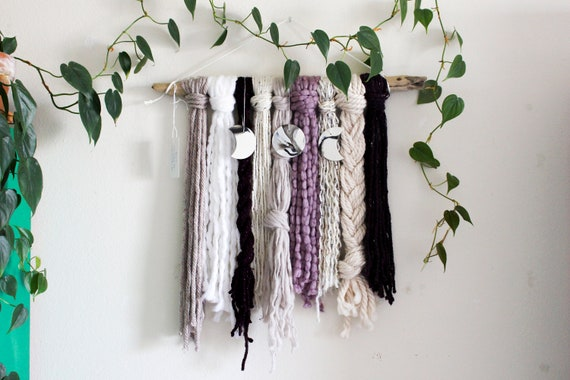 Moon Phase Yarn Wall Hanging - Gaia II
